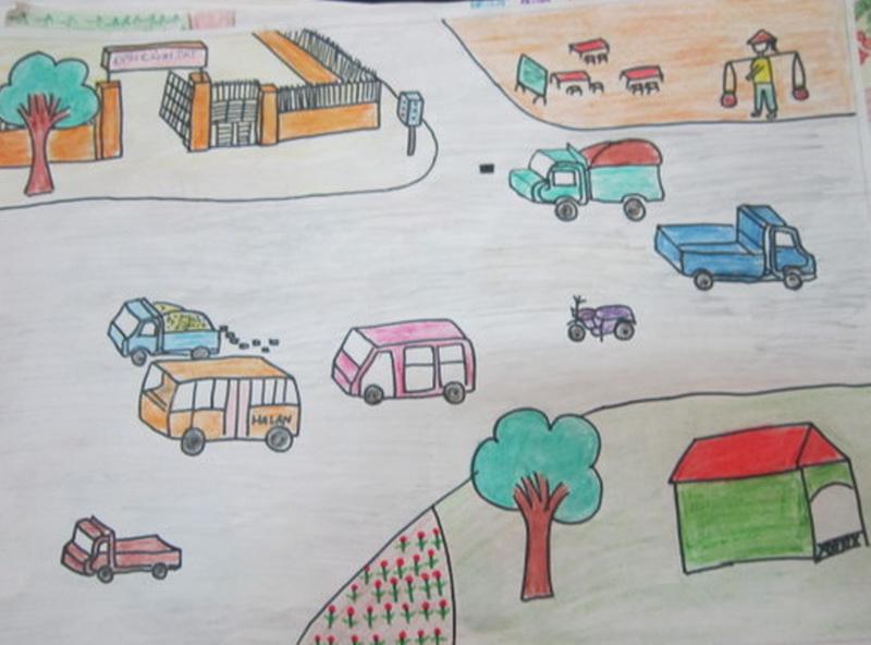 Những tranh vẽ đề tài an toàn giao thông đẹp