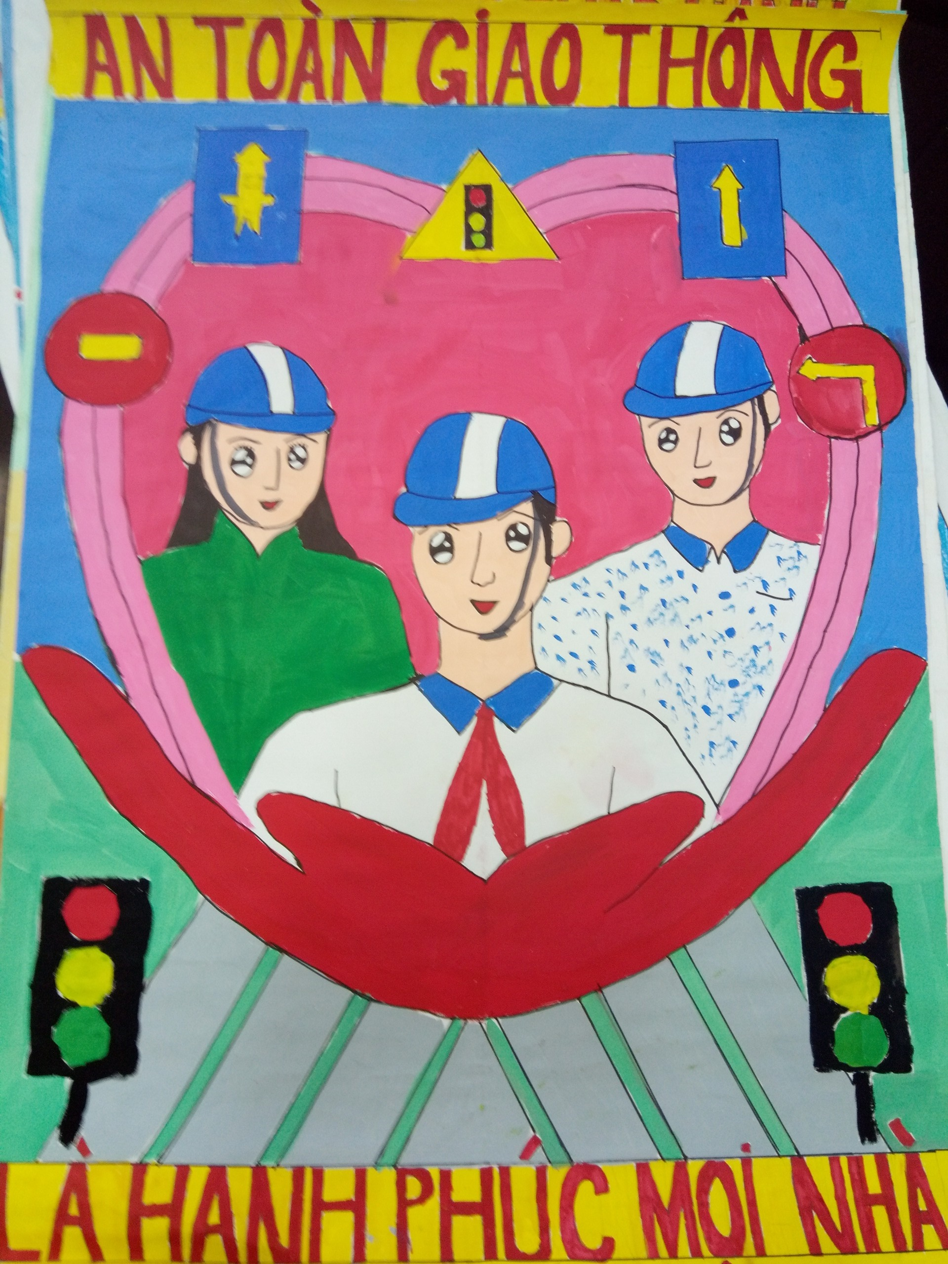 Tranh an toàn giao thông học sinh vẽ