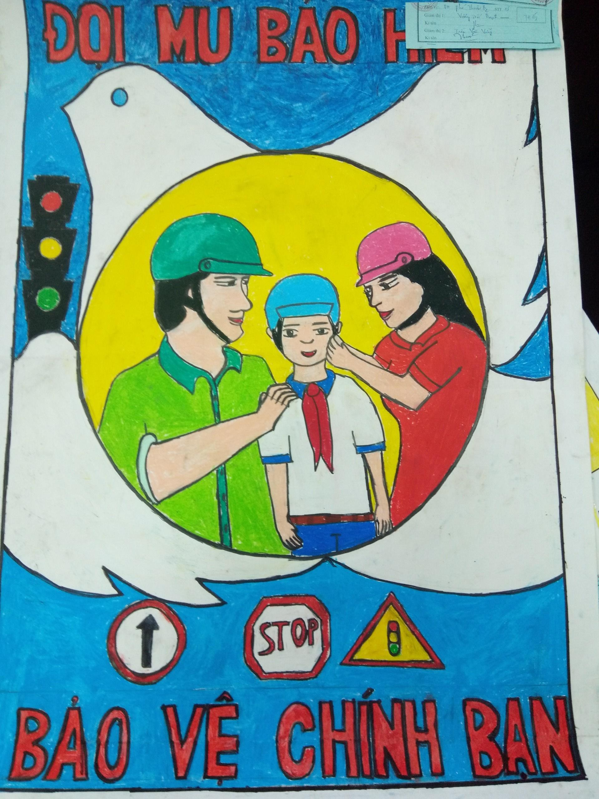 Tranh học sinh vẽ chủ đề an toàn giao thông