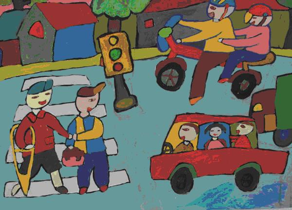 Tranh vẽ an toàn giao thông của học sinh