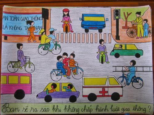 Tranh vẽ an toàn giao thông đẹp