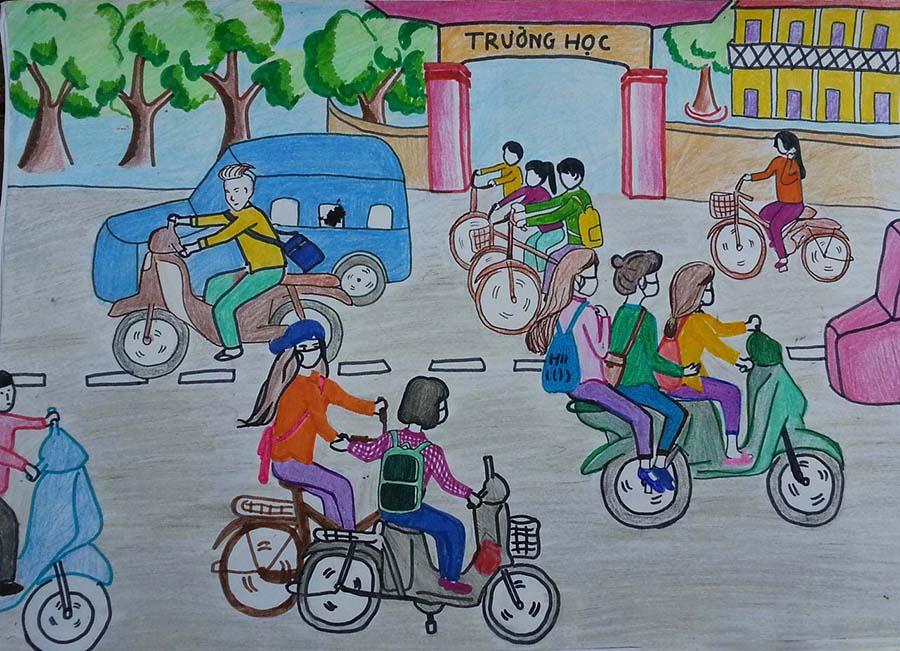 Tranh vẽ an toàn giao thông học đường