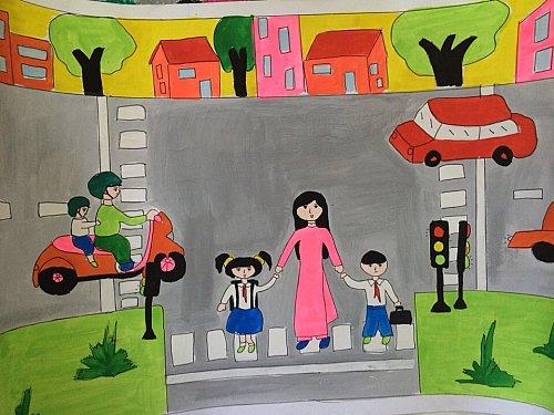 Tranh vẽ an toàn giao thông sáng tạo của học sinh