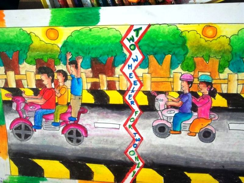 Tranh vẽ an toàn giao thông sáng tạo