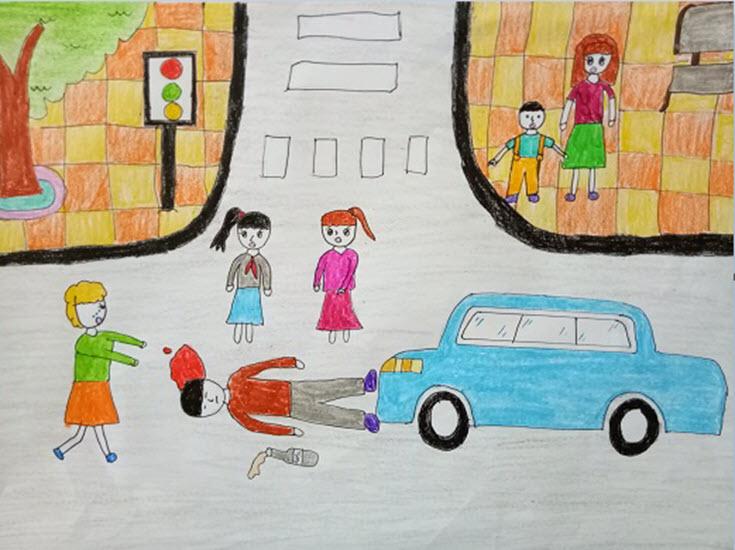 Tranh vẽ đề tài an toàn giao thông của học sinh