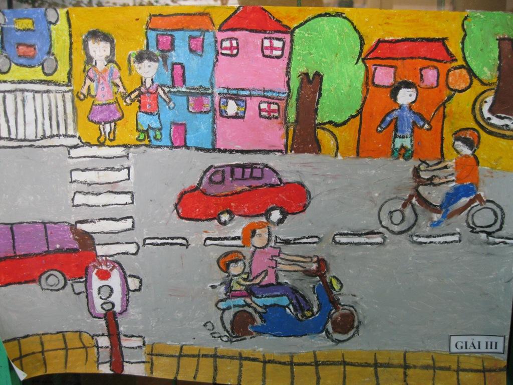Tranh vẽ đề tài an toàn giao thông đẹp nhất