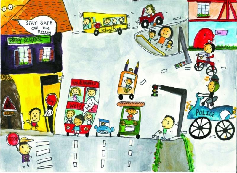 Tranh vẽ đề tài an toàn giao thông đẹp