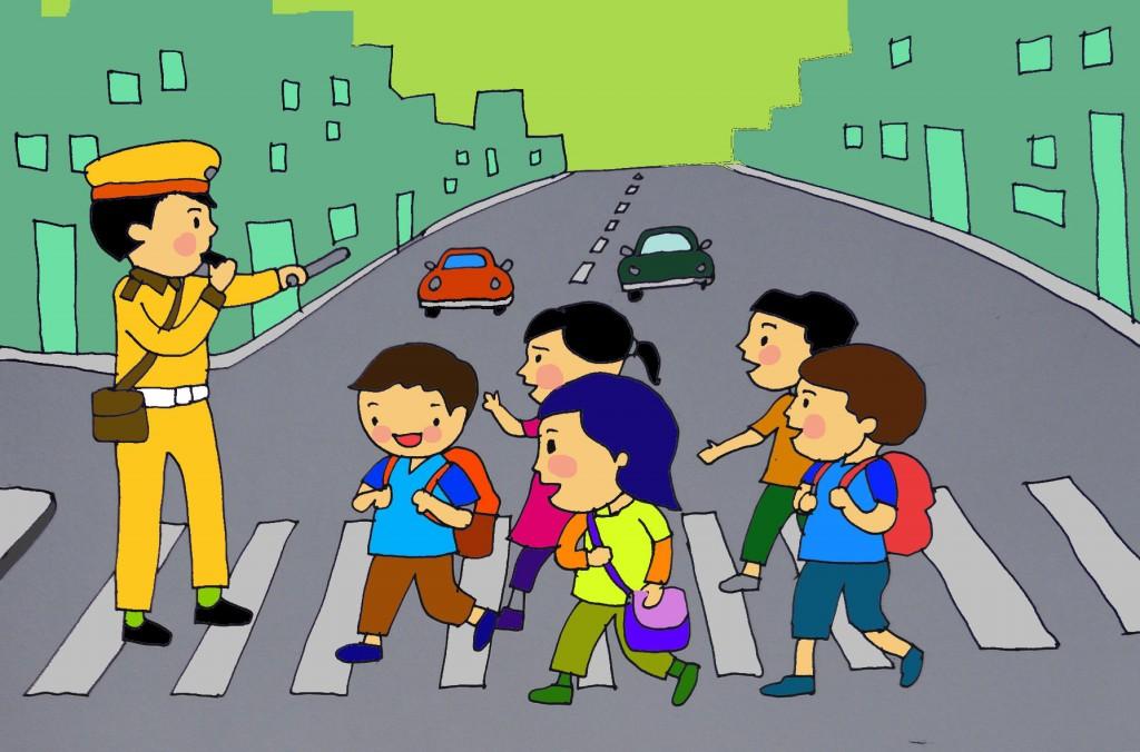 Tranh vẽ đề tài an toàn giao thông học đường