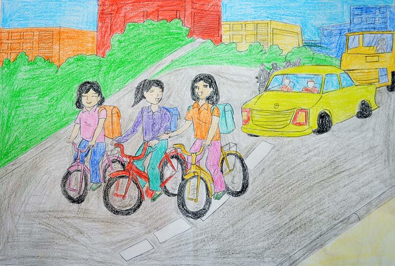 Tranh vẽ đề tài an toàn giao thông học sinh