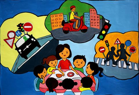 Tranh vẽ đề tài an toàn giao thông sắc màu