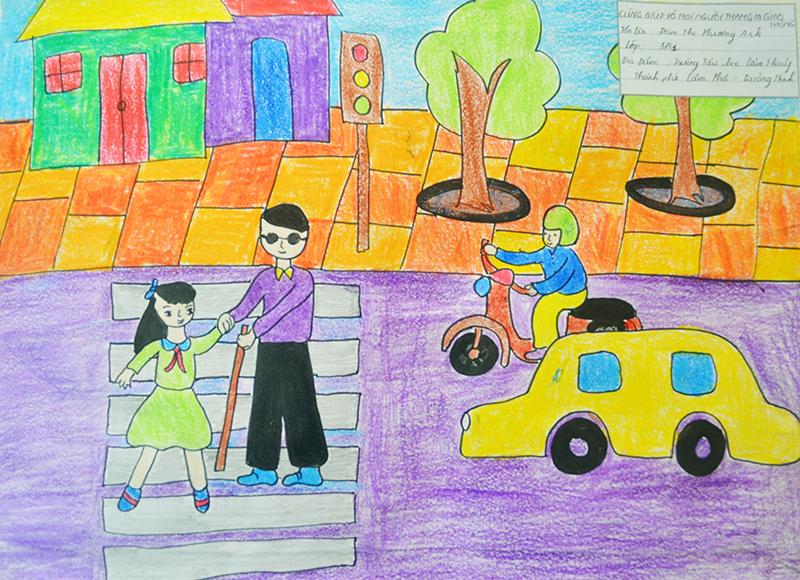 Tranh vẽ đề tài an toàn giao thông ý nghĩa