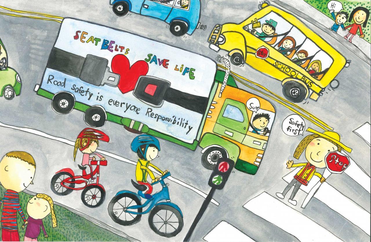 Tranh vẽ đề tài an toàn giao thông