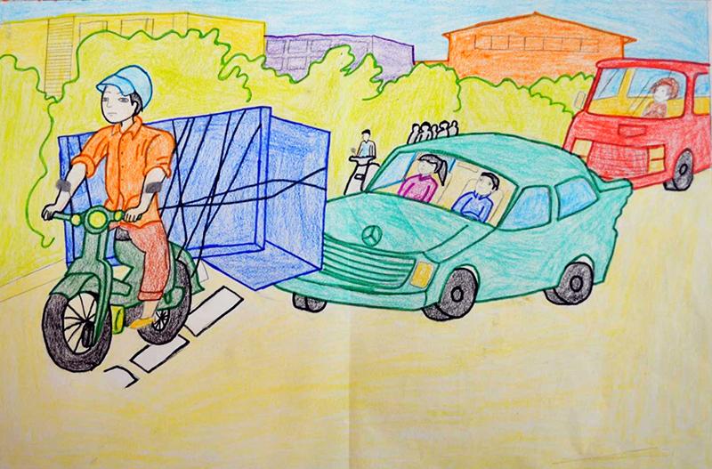 Tranh vẽ về đề tài giao thông nguy hiểm