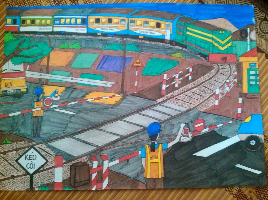 Vẽ tranh an toàn giao thông sáng tạo