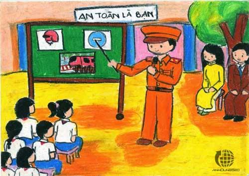 Vẽ tranh đề tài an toàn giao thông học đường