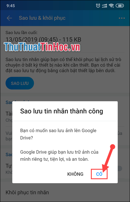 Chọn Có để lưu ảnh lên Google Drive