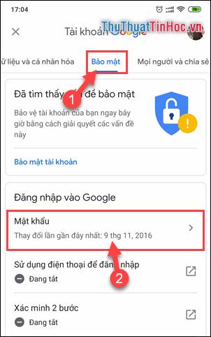 Chọn Mật khẩu trong phần Đăng nhập vào Google