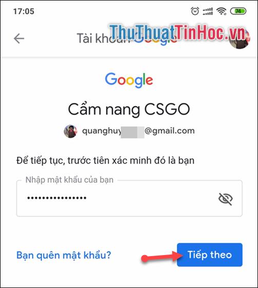 Nhập mật khẩu hiện tại của bạn để Google xác minh