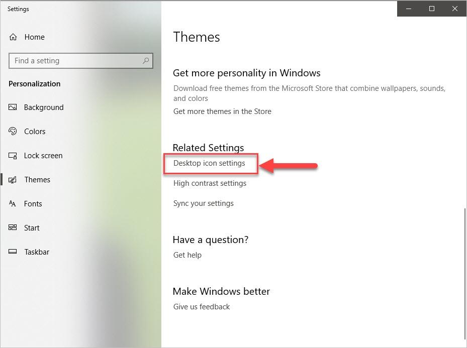 Chọn Desktop icon settings