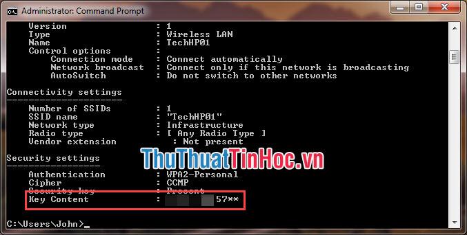 Mật khẩu của mạng wifi tại dòng Key Content