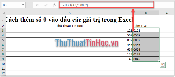 Sử dụng hàm Text