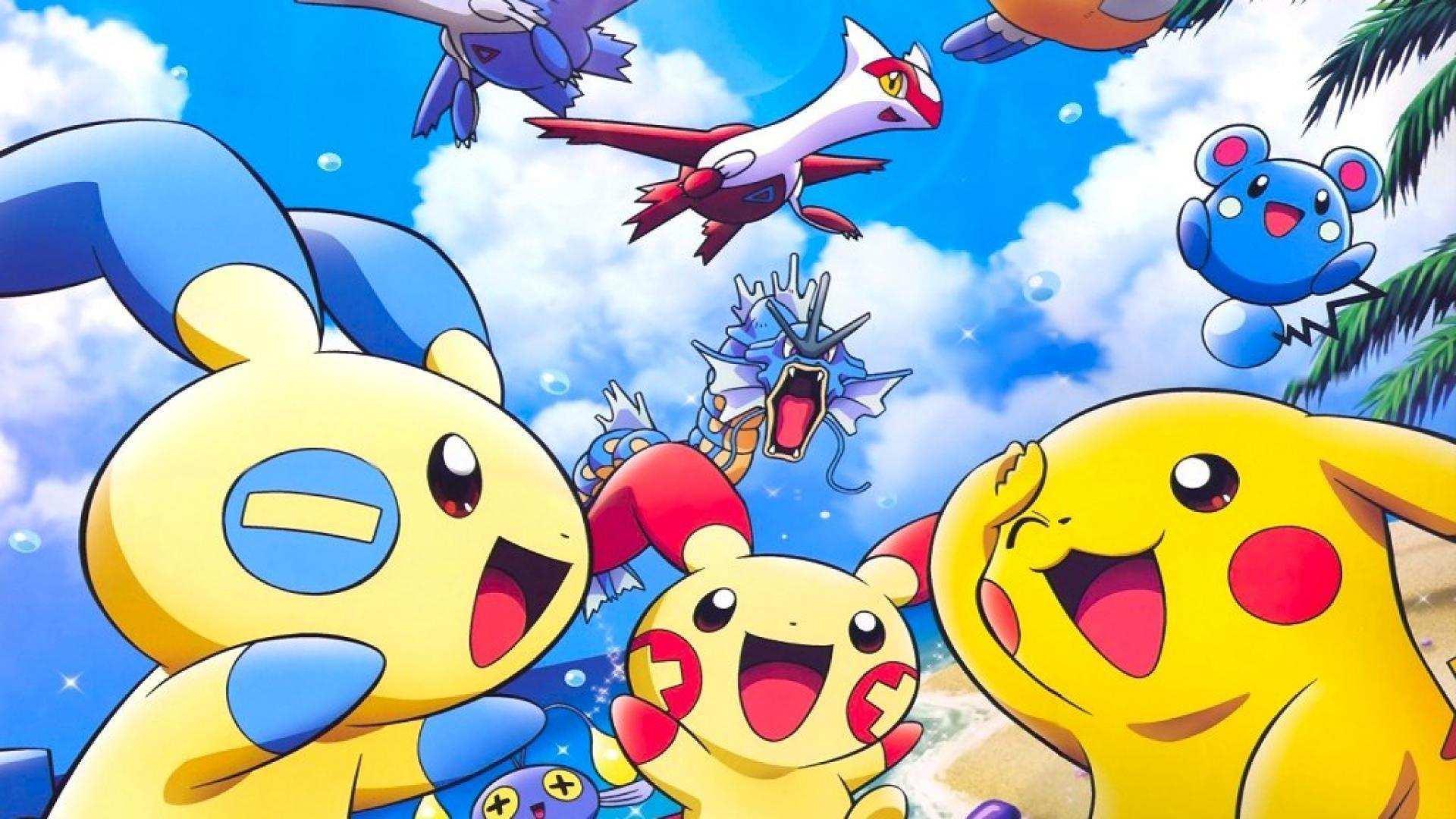 Hình nền Pokemon cùng vui đùa bên bờ biển