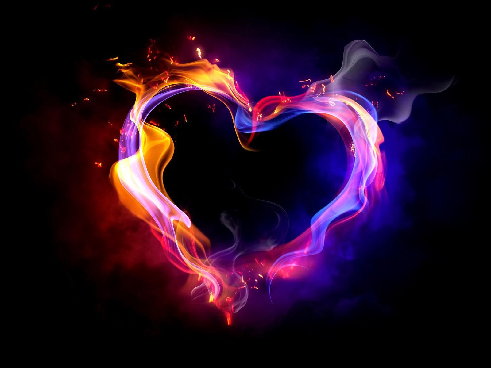 Hình nền trái tim lửa sặc sỡ
