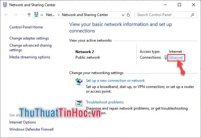 Chọn mục Ethernet