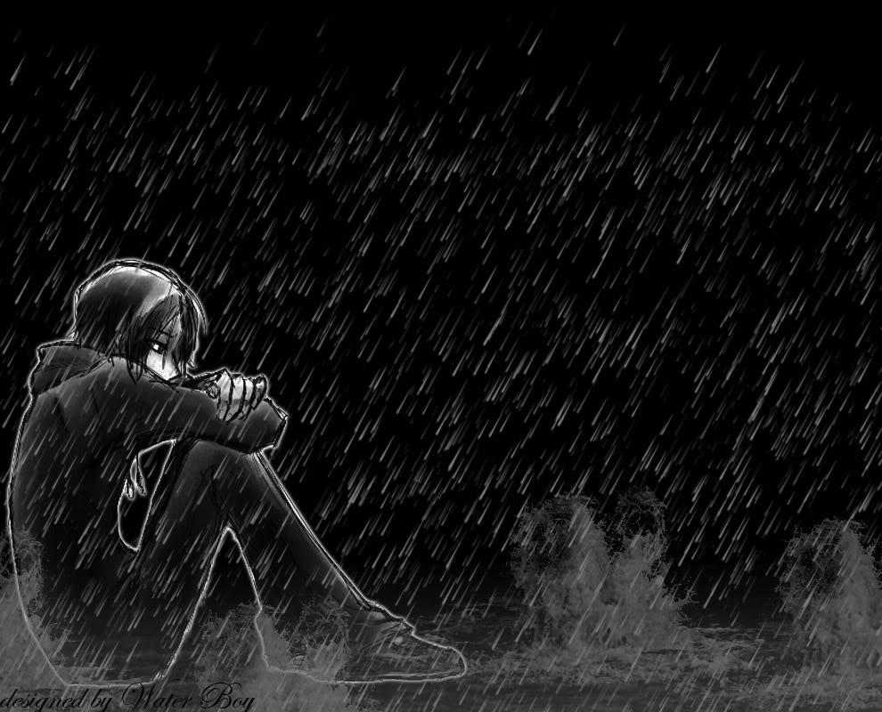 ảnh anime đen trắng buồn