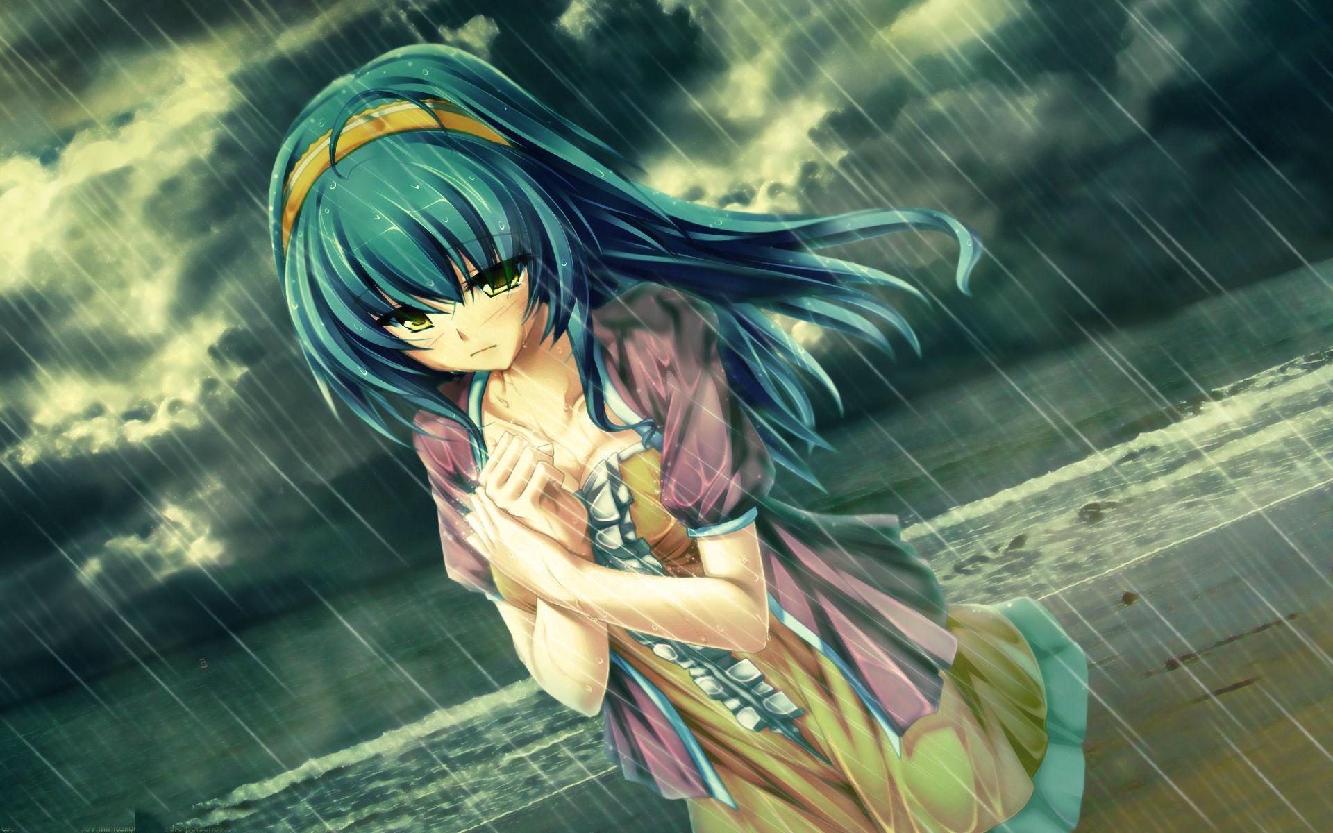 Ảnh đẹp Anime buồn dưới mưa