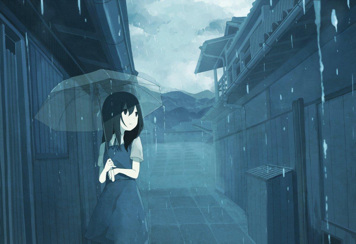 hình ảnh Anime mưa buồn tâm trạng