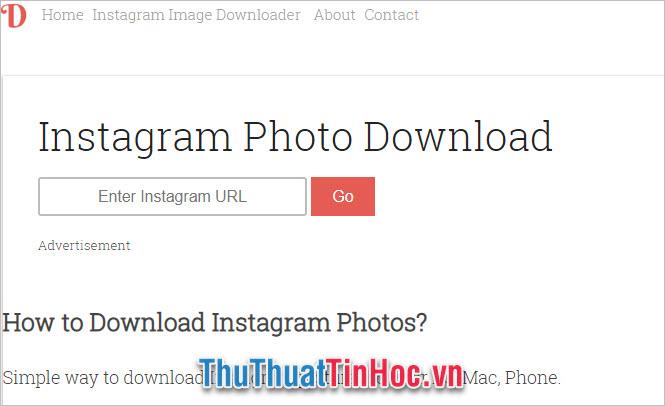 Dán link vào Enter Instagram URL và nhấn Go