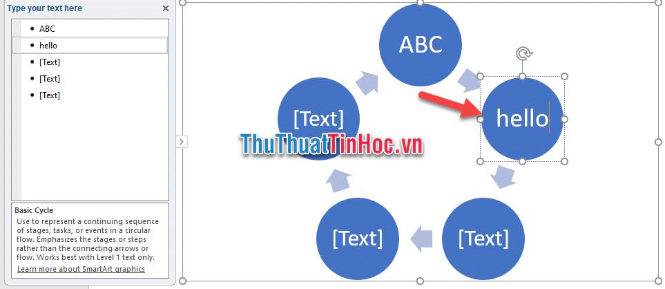 Nhập nội dung cho các ô Text