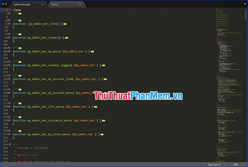 Sublime Text tự động hoàn thành, đánh dấu cú pháp và mã gấp
