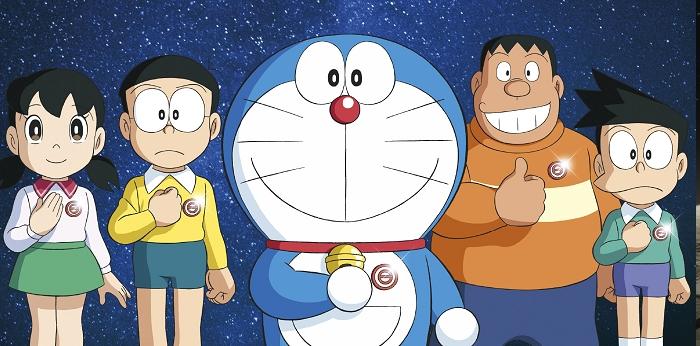 Ảnh Doraemon và các bạn trong chuyến du hành mặt trăng