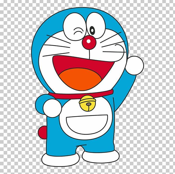 Hình ảnh chú mèo máy Doraemon cười nháy mắt