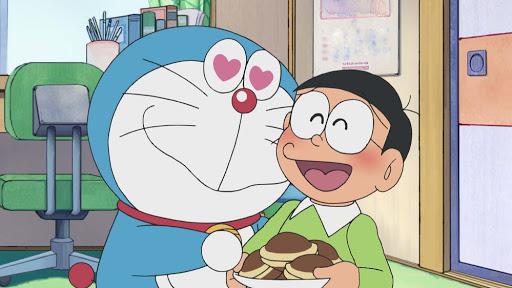 Hình ảnh Doraemon cùng Nobita ăn bánh rán