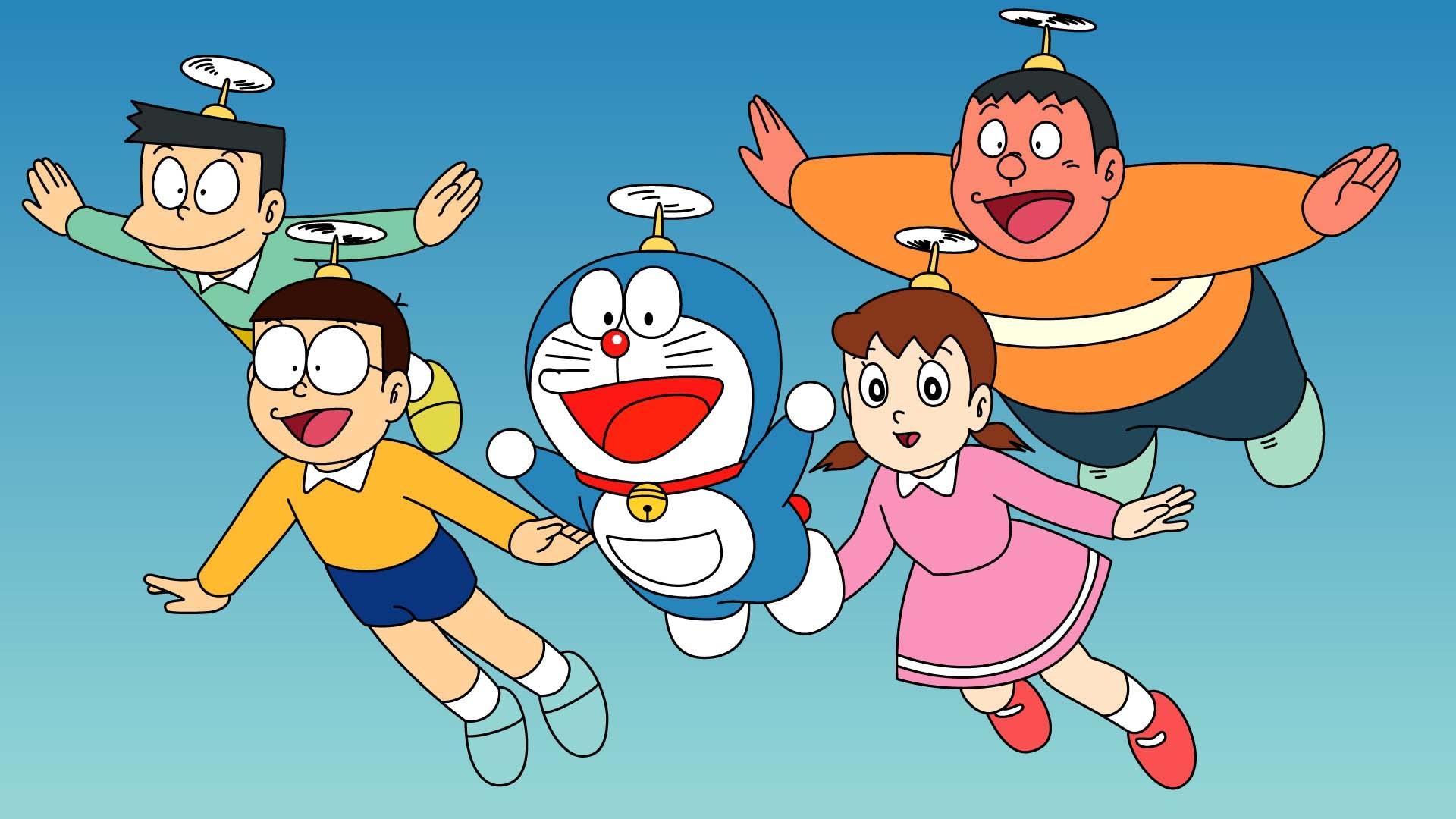 Hình ảnh Doraemon dùng chong chóng tre bay với các bạn