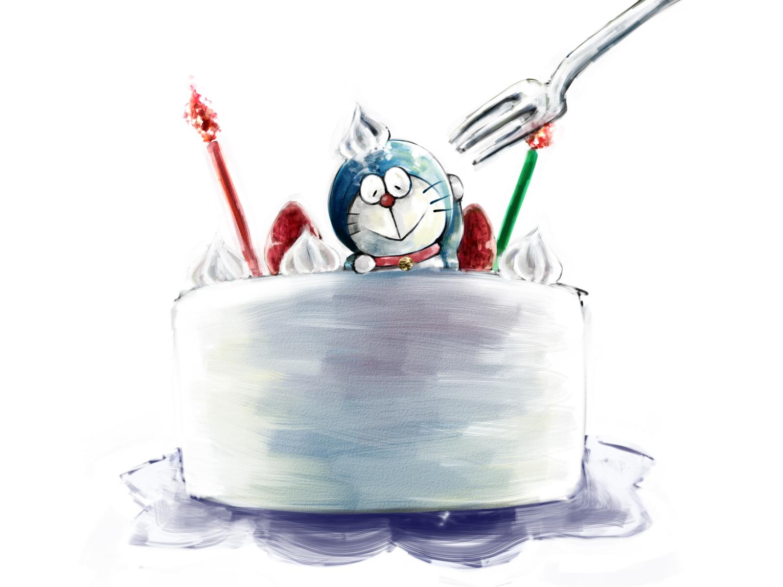 Hình ảnh Doraemon trên chiếc bánh kem