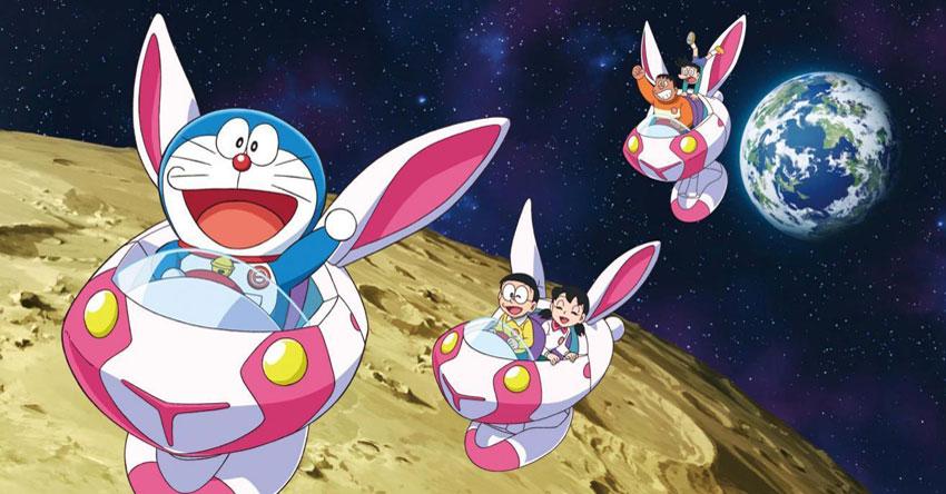 Hình ảnh Doraemon và các bạn cưỡi phi thuyền thỏ ngọc