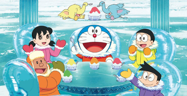 Hình ảnh Doraemon và các bạn ở thế giới băng tuyết