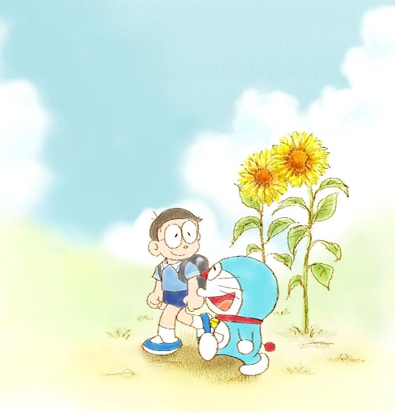 Hình ảnh Doraemon và hoa hướng dương