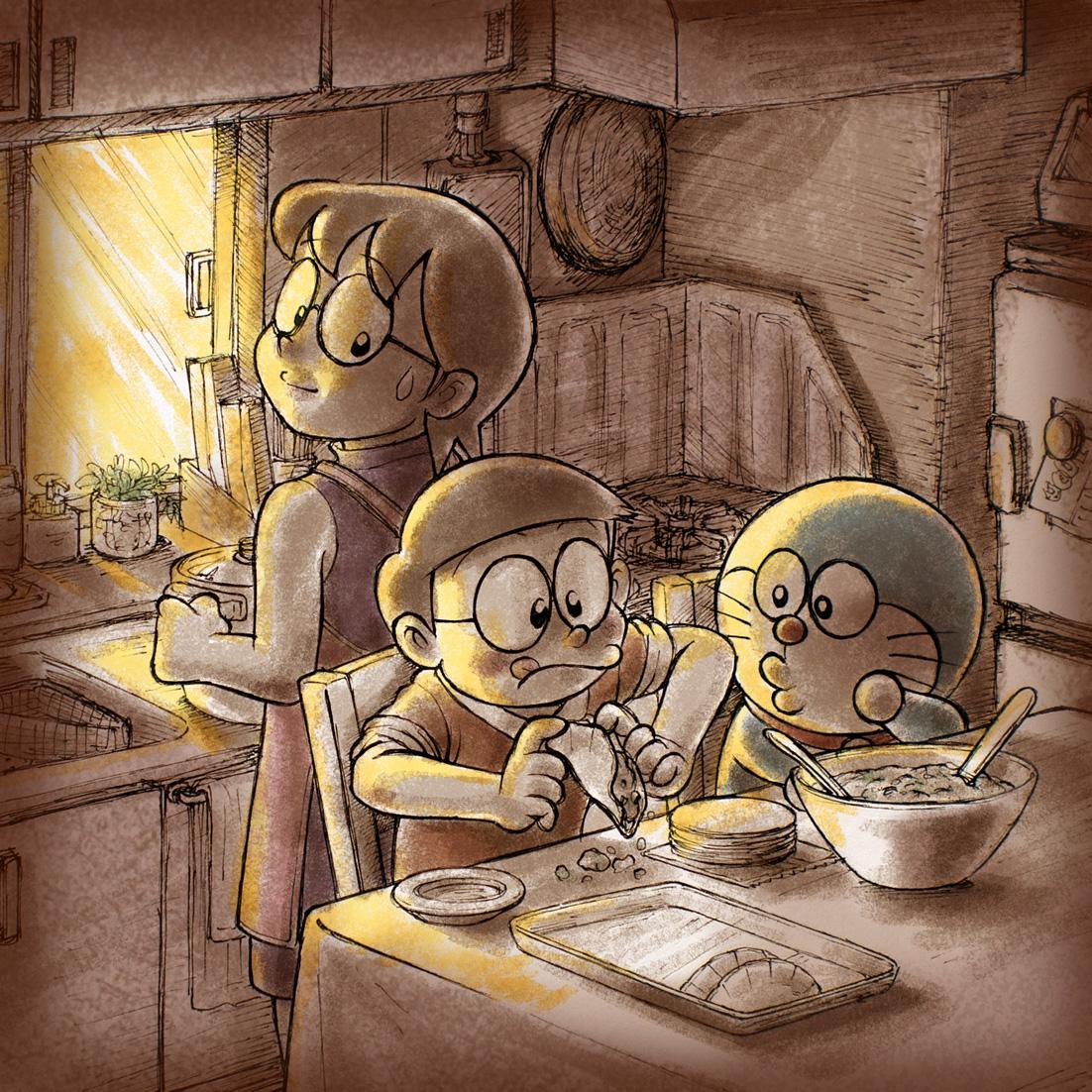 Hình ảnh mèo Doraemon và gia đình hạnh phúc