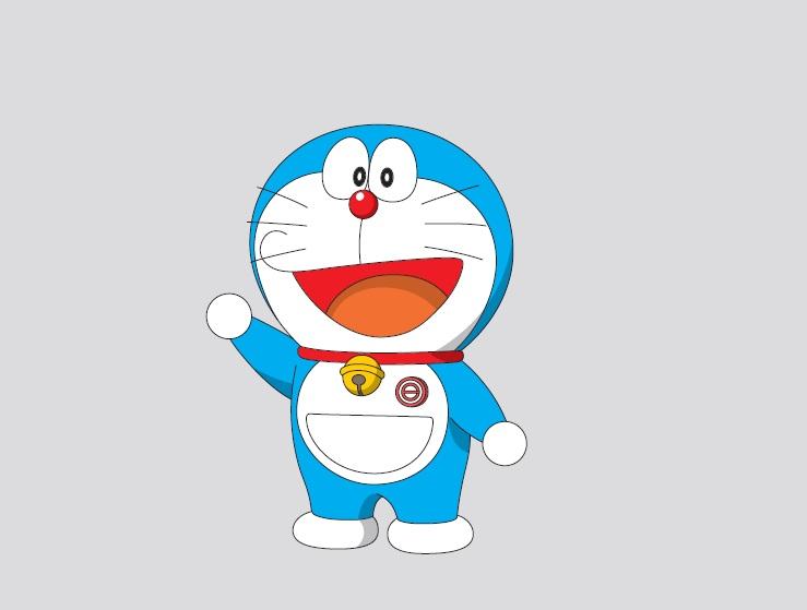 Hình ảnh mèo máy Doraemon đeo huy hiệu trước ngực