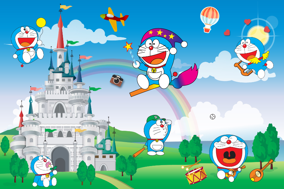Nhiều Doraemon trong một bức hình
