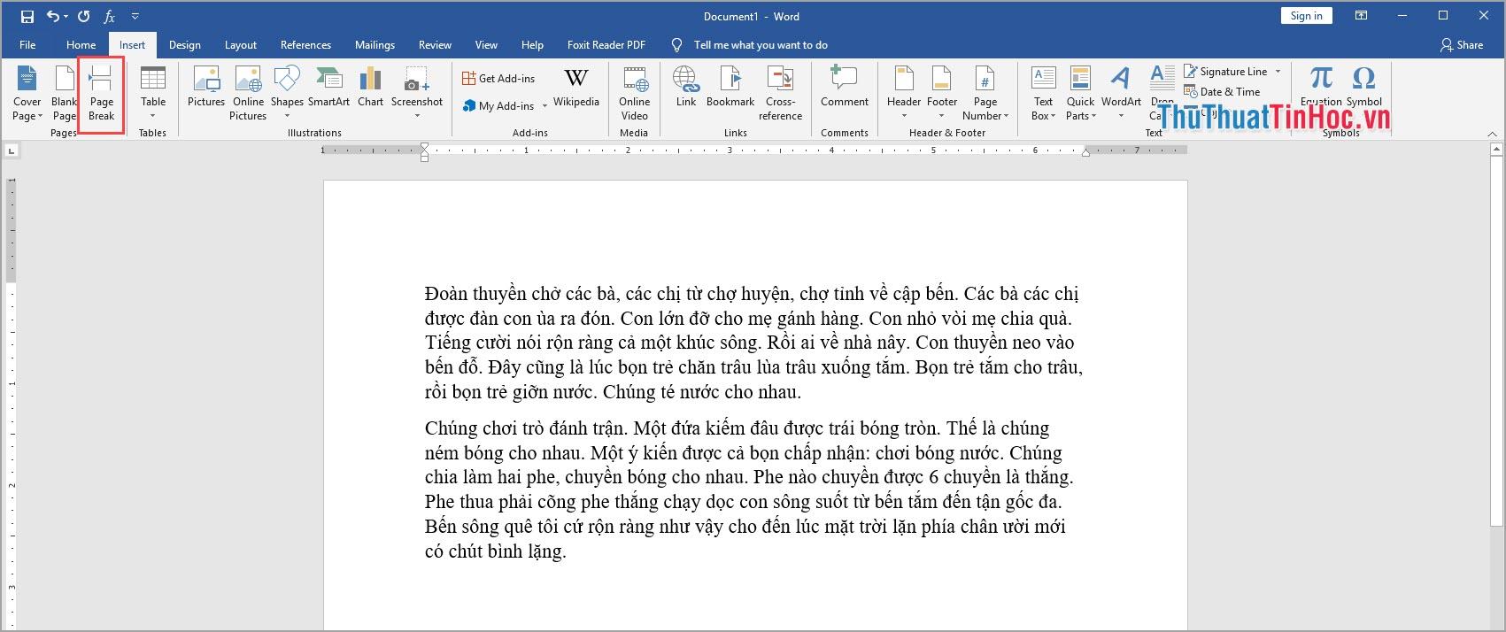 Chọn Page Break để tách đoạn văn bản và thêm trang trắng