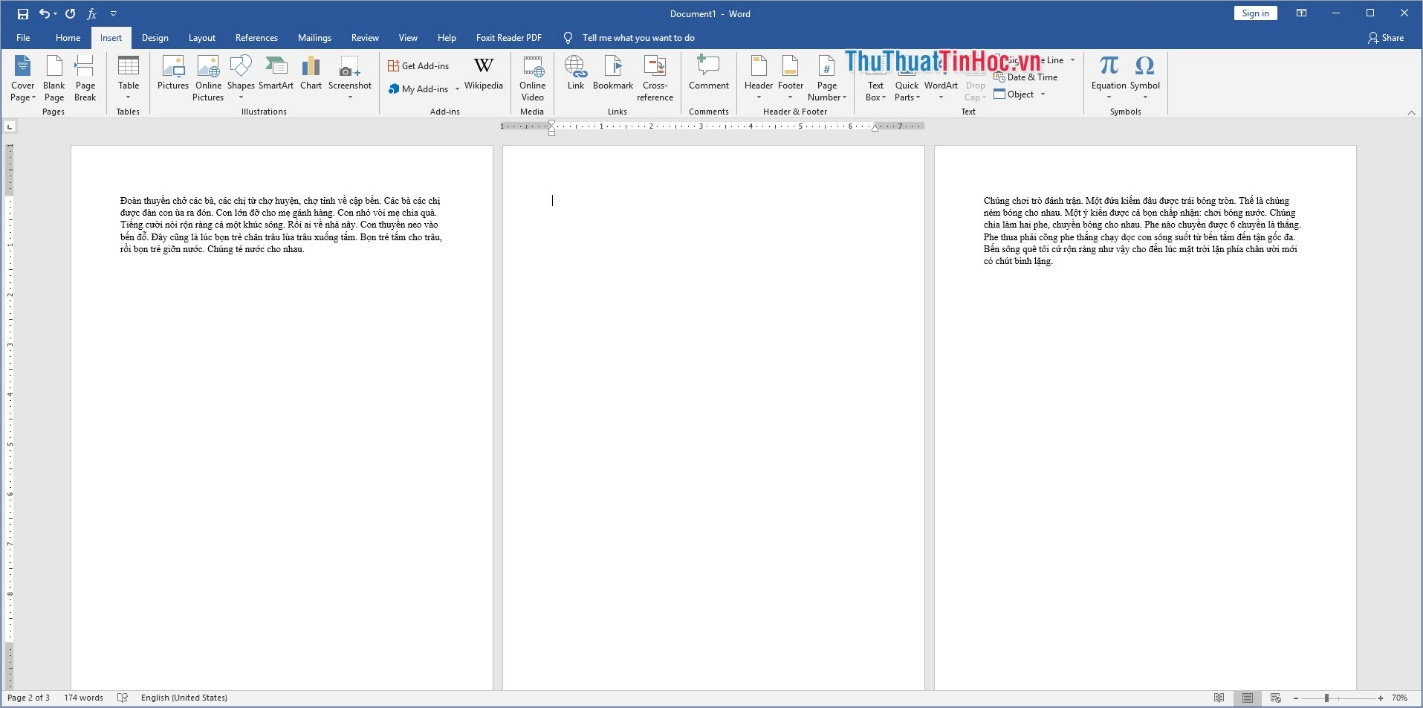 Phần mềm Word sẽ tự động chèn thêm một trang trắng vào vị trí trỏ chuột của các bạn