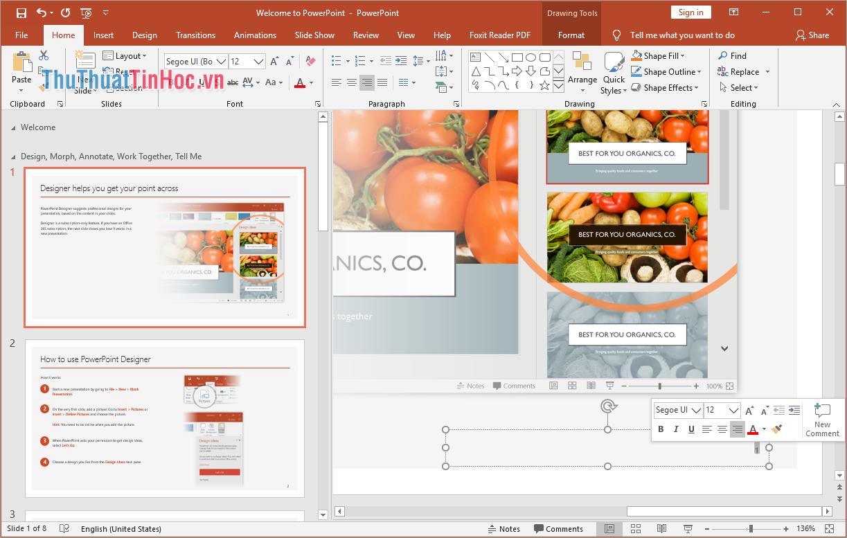 Bạn có thể nhấn vào số trang để chỉnh sửa màu sắc, kích thước, font chữ