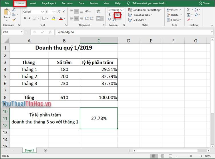 Chọn định dạng % trong mục Number