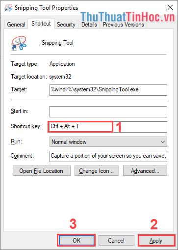 Nhập phím mình muốn tạo phím tắt mở Snipping Tool trong Shortcut Key